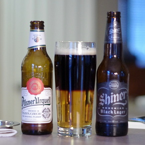 Pilsner Urquell and Shiner black and tan