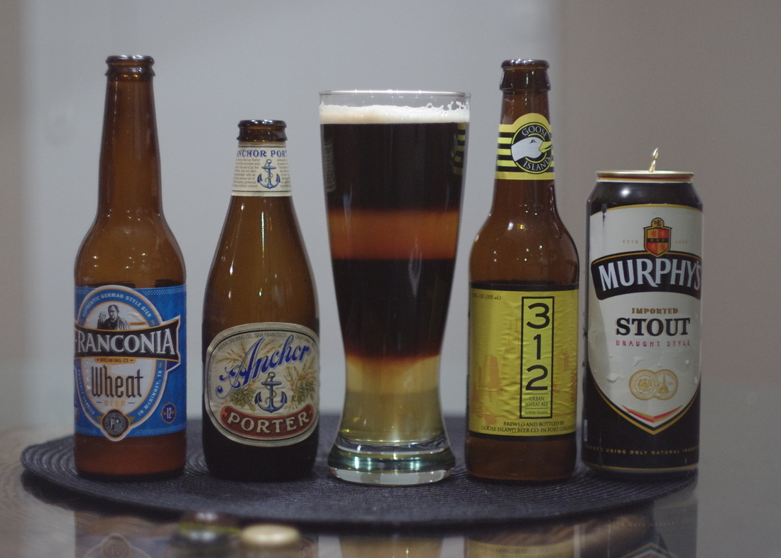 4 layer black and tan beer