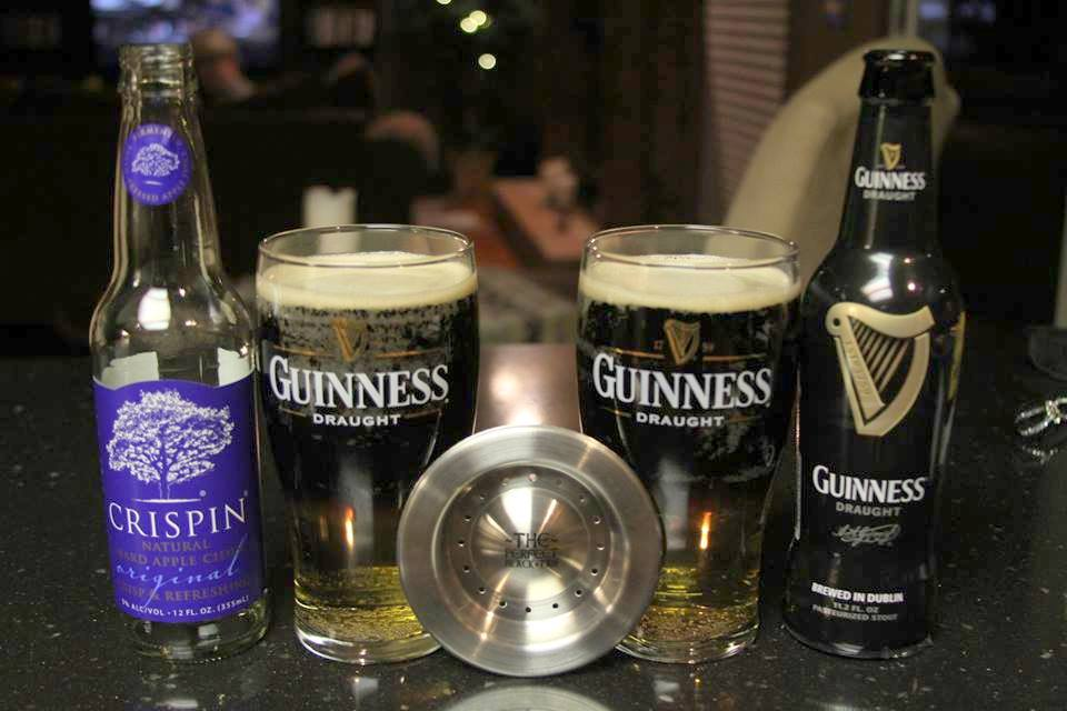 snakebite with Guinness and Crispin Cider